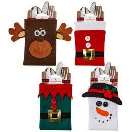 48 Units of Cutlery Holder Christmas Felt 4ast Santa/elf Belt Snowman/deer - Christmas