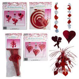 24 Units of Valentine Foil Decor Asst 4style Swirl/cntrpc/dangle Cutouts - Party Supplies