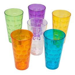 48 Units of Tumblers GlasS-Look 6 Colors 1ct 24 Oz In Pdq - Kitchen & Dining