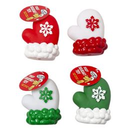 72 Units of Dog Toy Christmas Viny Mitten 4in W/squeaker 4 Colors In Pdq - Pet Accessories