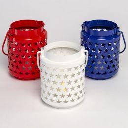 18 Units of Lantern Decorative Metal W/star Cutouts LitE-Up 3ast Clr W/hndl - Party Supplies