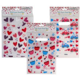 48 Units of Loot Bag Zipper 10ct Pe W/handle 3ast Val Prints To/from In Pbh - Party Supplies