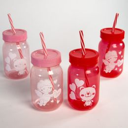 24 Units of Sipper Cup Kids Valentine Plstc 16oz Red/pink 2ast Upc Lab 5in H - Party Supplies