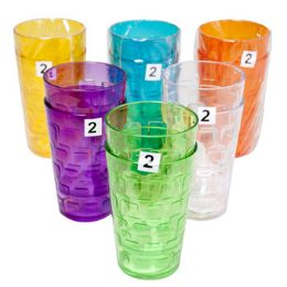 48 Units of Tumblers GlasS-Look 6 Colors 2pk 18 Oz In A White Pdq - Kitchen & Dining