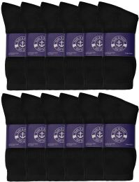 24 Units of Yacht & Smith Mens Cotton Black Crew Socks, Sock Size 10-13 - Mens Crew Socks