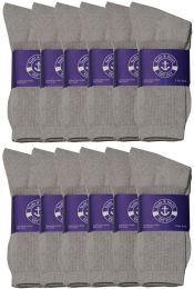 24 Units of Yacht & Smith Mens Cotton Gray Crew Socks, Sock Size 10-13 - Mens Crew Socks