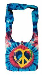 10 Units of Nepal Handmade Hobo Bag Blue Tie Dye Peace - Tote Bags & Slings