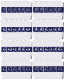 48 Units of Yacht & Smith Mens Lightweight Cotton Crew Socks In Bulk, White Size 10-13 - Men's Socks for Homeless and Charity