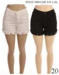 24 Units of Women's Fashion Solid Color Shorts With Button In Assorted Two Colors - Womens Shorts
