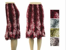 48 Units of Women's Flowy Printed Ruffle Skirt - Womens Skirts