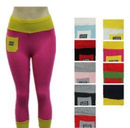 48 Units of Ladies High Waist Two Tone Capri Length Leggings - Womens Capri Pants