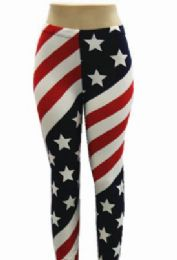 48 Units of Women Full Length American Flag Leggings - Womens Leggings
