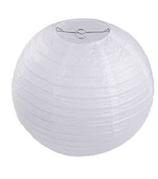 96 Units of 8 Inch Paper Lantern White - Party Center Pieces