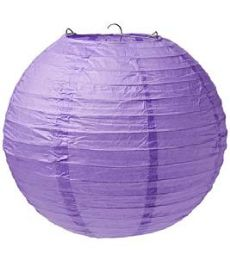 96 Units of 12 Inch Paper Lantern In Purple - Party Center Pieces