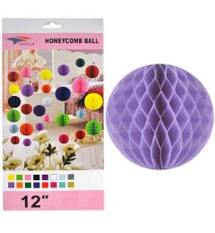 96 Units of 12 Inch Lavender Honeycomb Tissue Paper - Party Center Pieces