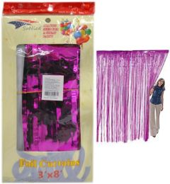 36 Units of Hot Pink Metallic Foil Curtain - Party Center Pieces