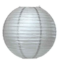 96 Units of 8 Inch Paper Lantern In Silver - Party Center Pieces