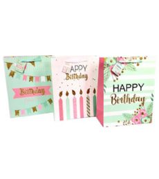 96 Units of Birthday Gift Bag Size Large - Gift Bags Everyday