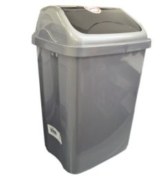 24 Units of 10 Liter Trash Can Vittorio Grey - Waste Basket