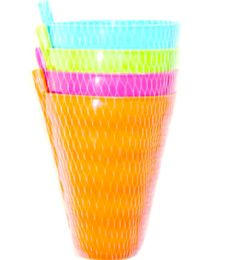 96 Units of 4 Piece Cup With Straw 800ml - Plastic Bowls and Plates
