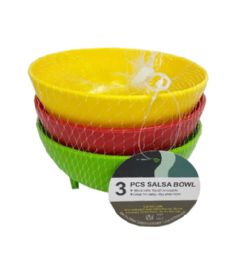 72 Units of 3 Piece Salsa Bowl In Assorted Color - Plastic Bowls and Plates