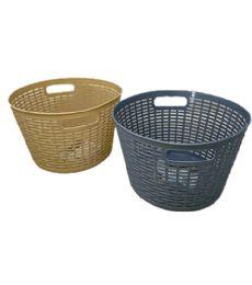72 Units of Plastic Basket Round Assorted Color - Storage & Organization