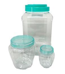 36 Units of 3 Piece Square Plastic Jar - Storage & Organization