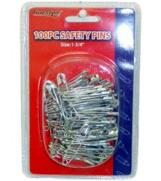 96 Units of 100 Piece Safety Pins In Double Clam Shell - Sewing Supplies