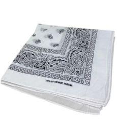 300 Units of Paisley Bandana In White Color - Bandanas