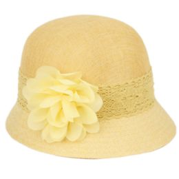 24 Units of Linen Cloche Hats With Lace Band And Flower In Yellow - Bucket Hats