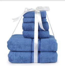 6 Units of Six Pieces Towel Set Blue Ring Spun Cotton - Towels