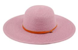 12 Units of BRAID STRAW FLOPPY HATS WITH LEATHER BAND IN LAVENDER - Sun Hats