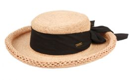 12 Units of RAFFIA STRAW ROLLED EDGE FLOPPY HATS WITH RIBBON BAND IN ASSORTED COLORS - Sun Hats
