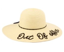 "12 Units of ""OUT OF OFFICE"" BRAID PAPER STRAW FLOPPY HATS WITH BAND - Sun Hats"