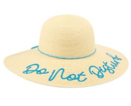 "12 Units of ""DO NOT DISTURB"" BRAID PAPER STRAW FLOPPY HATS WITH BAND - Sun Hats"