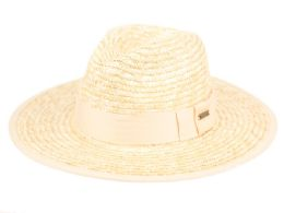 12 Units of STRAW PANAMA HATS WITH GROSGRAIN BAND - Sun Hats