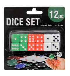 144 Units of 12 Piece Dice Set - Playing Cards, Dice & Poker