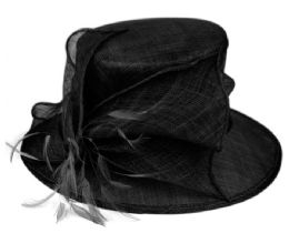 12 Units of Sinamay Fascinator With Flower & Feather Trim In Black - Church Hats