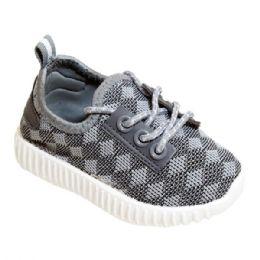 9 Units of Kids Knit Sneaker In Gray - Boys Sneakers