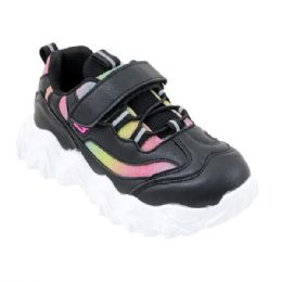 12 Units of Girls Sneakers Casual Sports Shoes In Black - Girls Sneakers