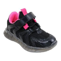 12 Units of Girls Sneakers Casual Sports Shoes In Black And Fuschia - Girls Sneakers
