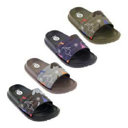 48 Units of Boys Print Slides - Boys Flip Flops & Sandals