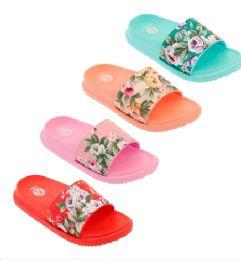 48 Units of Girls Floral Slide - Girls Flip Flops
