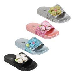 48 Units of Girls Babe Rhinestone Slide - Girls Flip Flops