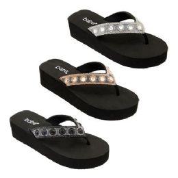 30 Units of Women's Platform Rhinestone Sandal - Women's Flip Flops