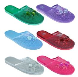 96 Units of Ladies Solid Color Chinese Slippers Size 6-11 - Women's Sandals