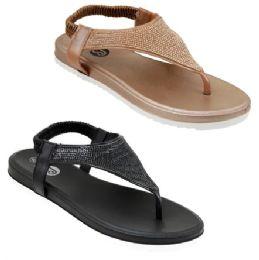 30 Units of Women's Rhinestone Shield Sandals - Women's Sandals