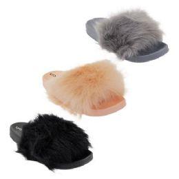 30 Units of Women' Fur Slides - Women's Sandals