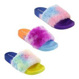30 Units of Women's Ombre Fur Slides - Women's Sandals