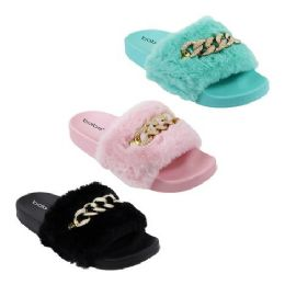 30 Units of Women's Fur Slides With Chain - Women's Sandals